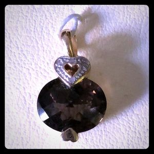Vintage 14k Gold, Diamond & Smokey Quartz Pendant